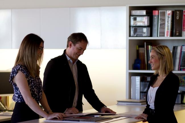 Andrea Mazzone (right) with Mark Johnson and Emma Robertson