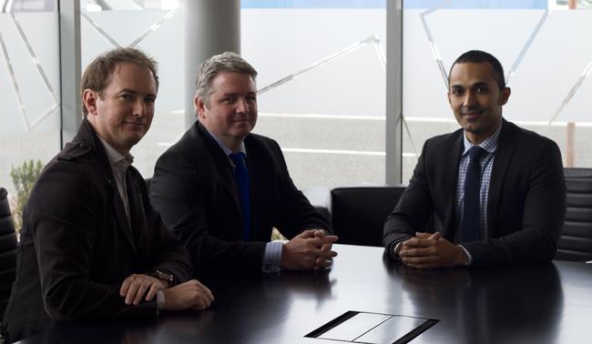Steven Pooley with InSite's Design Director Mark Johnson and Associate Director Shil Shanghavi.